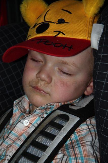 Kubko zaspinkal - nechcel som spať po obede, tak ma vychádzka zmorila, že som zaspal hneď v aute.